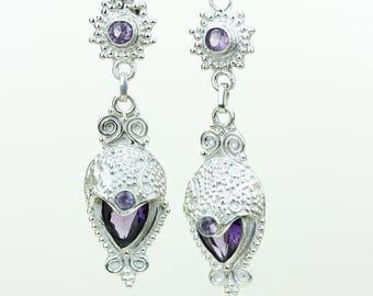 Amethyst 925 SOLID (Nickel Free) Sterling Silver Italian Made Dangle Earrings e597
