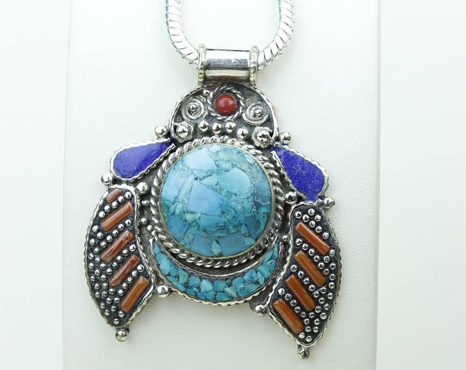 Get this Deal! Turquoise Lapis Coral Native Tribal Ethnic Vintage Nepal Tibetan Jewelry OXIDIZED Silver Pendant + Chain P3965