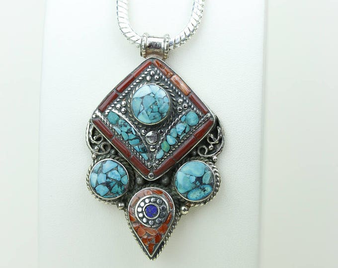 Back to Basics! Turquoise Coral Native Tribal Ethnic Vintage Nepal Tibetan Jewelry OXIDIZED Silver Pendant + Chain P3991