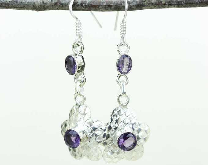 Amethyst 925 SOLID (Nickel Free) Sterling Silver Italian Made Dangle Earrings e613
