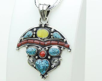 Gotta Get this! Coral Turquoise Native Tribal Ethnic Vintage Nepal Tibetan Jewelry OXIDIZED Silver Pendant + Chain P3958