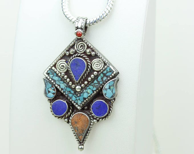 For Limited Time Only! Coral Lapis Turquoise Native Tribal Ethnic Vintage Nepal Tibetan Jewelry OXIDIZED Silver Pendant + Chain P3995