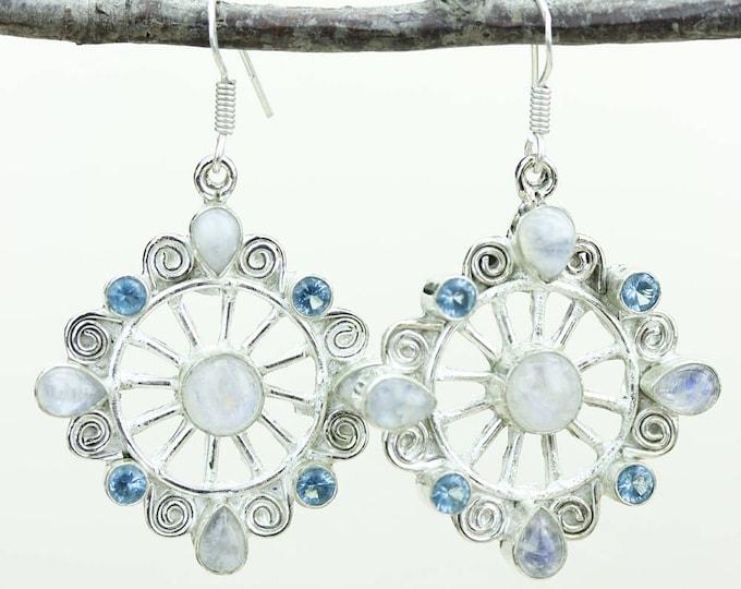 Unique Shape Moonstone Swiss Blue Topaz 925 SOLID (Nickel Free) Sterling Silver Italian Made Dangle Earrings e576