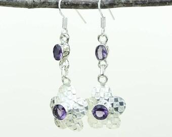 Amethyst 925 SOLID (Nickel Free) Sterling Silver Italian Made Dangle Earrings e585