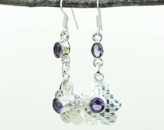 Amethyst 925 SOLID (Nickel Free) Sterling Silver Italian Made Dangle Earrings e591