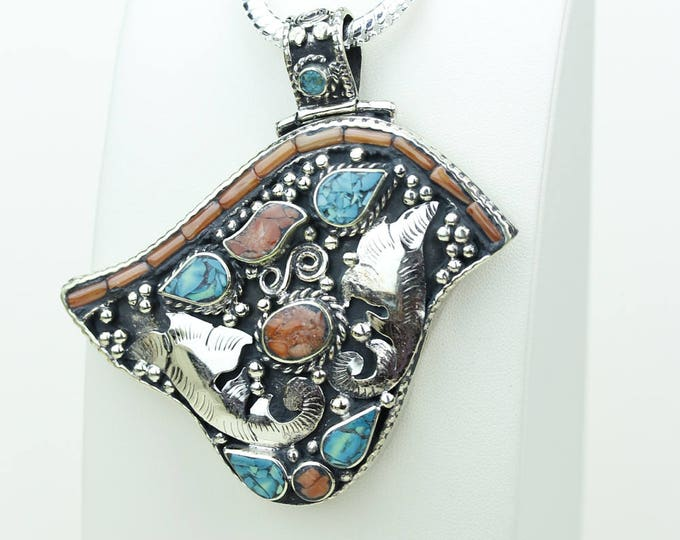 3D Design! Coral Turquoise Native Tribal Ethnic Vintage Nepal Tibetan Jewelry OXIDIZED Silver Pendant + Chain P3970