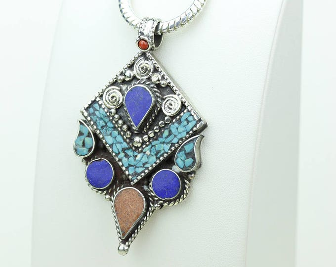 Coral Turquoise Native Tribal Ethnic Vintage Nepal Tibetan Jewelry OXIDIZED Silver Pendant + Chain P3978