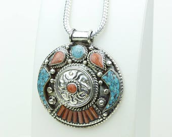 Now or Never! Coral Turquoise Native Tribal Ethnic Vintage Nepal Tibetan Jewelry OXIDIZED Silver Pendant + Chain P3939