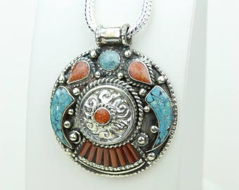 Ohhh Yeah! Turquoise Coral Native Tribal Ethnic Vintage Nepal Tibetan Jewelry OXIDIZED Silver Pendant + Chain P3967