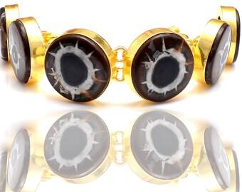 Circle Shaped Septarian Nodule Gold Plated Bracelet GB155