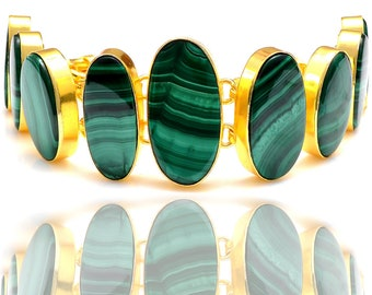 Canadian Striped Malachite Gold Plated Bracelet GB143