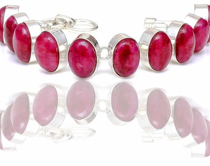 Polished Ruby Cabochon Genuine Gemstone Bracelet B4430