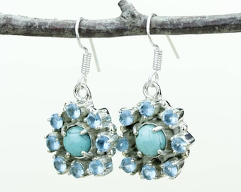 Blue Topaz Turquoise 925 SOLID (Nickel Free) Sterling Silver Italian Made Dangle Earrings e628