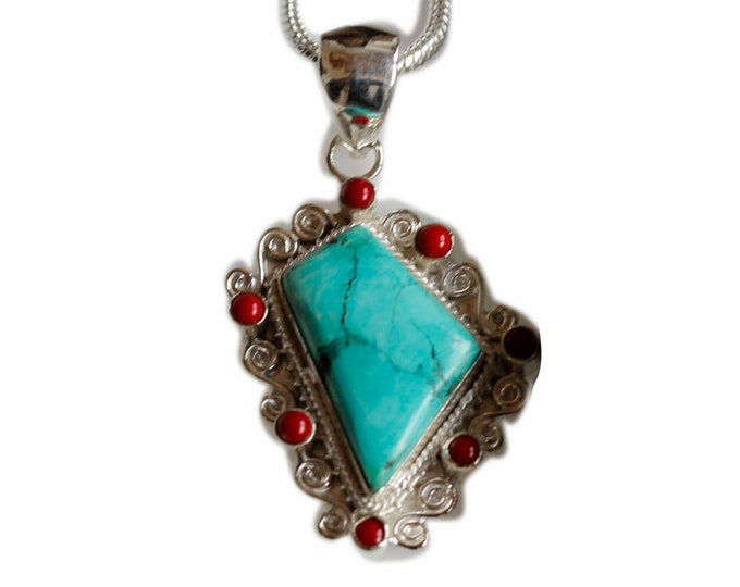 Special Shape Turquoise Coral 925 Sterling Silver + BONDED Copper Pendant Chain & Worldwide Shipping p4472