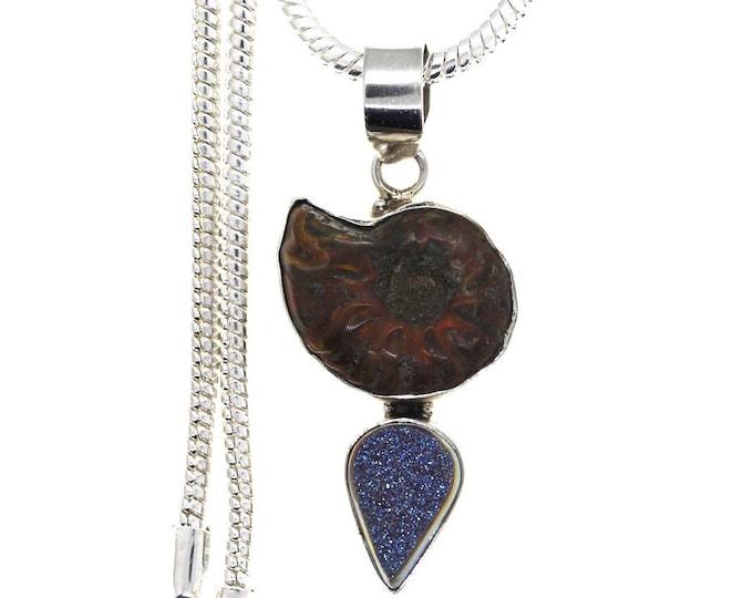 Ammonite Fossil Titanium Druzy Drusy 925 Sterling Silver Pendant  4MM Italian Snake Chain P969