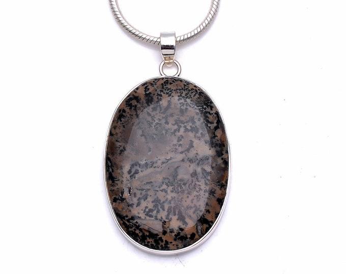 Scenic Dendritic Agate Fine 925 975 Sterling Silver Pendant 4MM Italian Chain p6298