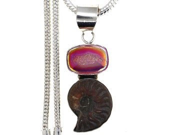 Italian Made Ammonite Fossil Agate Druzy Drusy 925 Sterling Silver Pendant  4MM Italian Snake Chain P981