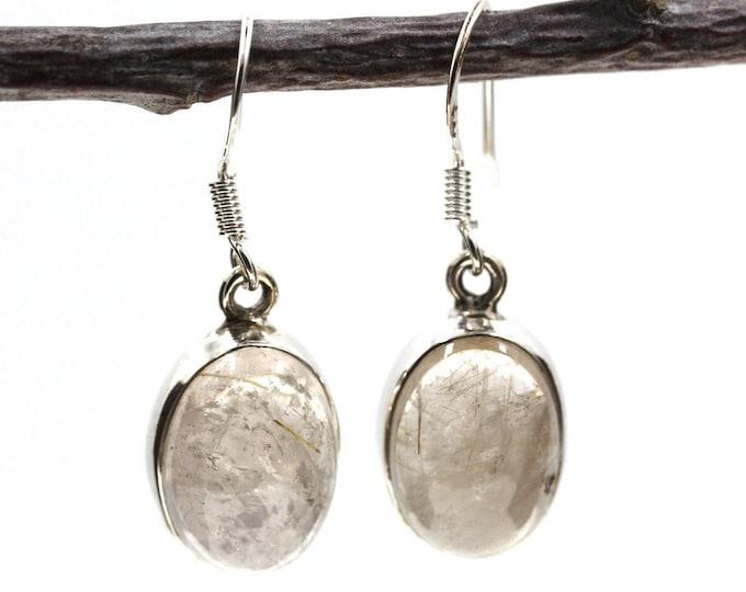 Oval Rutile Rutilated Quartz 925 SOLID Sterling Silver Earrings E117