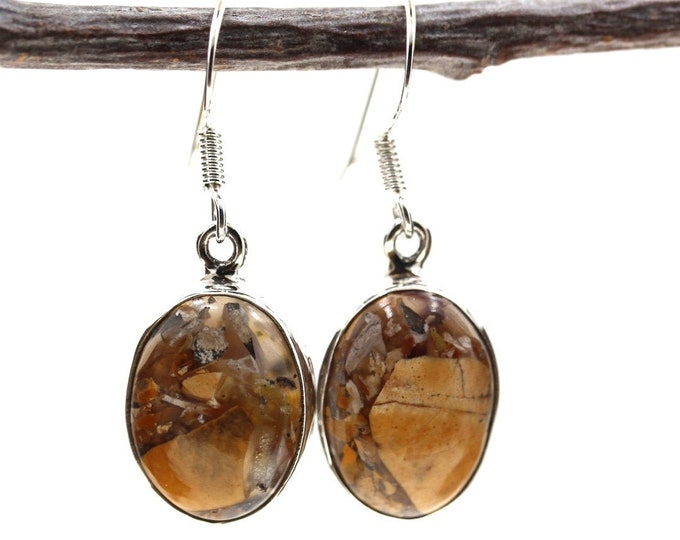 Brecciated Mookaite 925 SOLID Sterling Silver Earrings E102