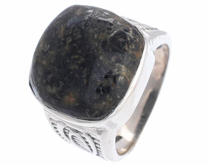 SIZE 8 TURITELLA Jasper FOSSIL 925 Fine Sterling Silver Ring R2591