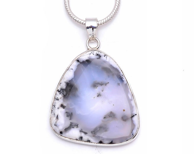 Dendritic Agate Fine 925+ 975 S0LID Sterling Silver Pendant + Snake Chain P6257
