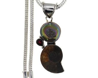 Ammonite Titanium Druzy 925 Sterling Silver Pendant  4MM Italian Snake Chain P191