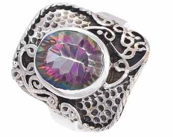 SIZE 8 MYSTIC TOPAZ 925 Fine Sterling Silver Ring R2592