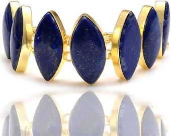 Marquise Shaped Genuine Lapis Lazuli Gold Plated Bracelet GB117