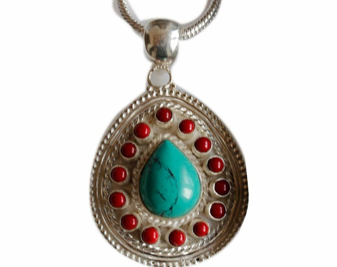Must Have! Tibetan Turquoise Coral Crafted 925 Sterling Silver + BONDED Copper Pendant Chain & Worldwide Shipping p4474