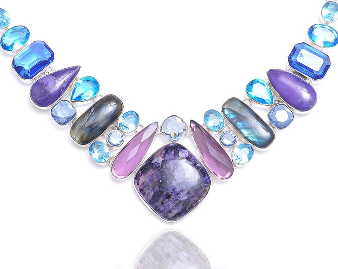 Charoite Amethyst Blue Topaz Necklace NK96