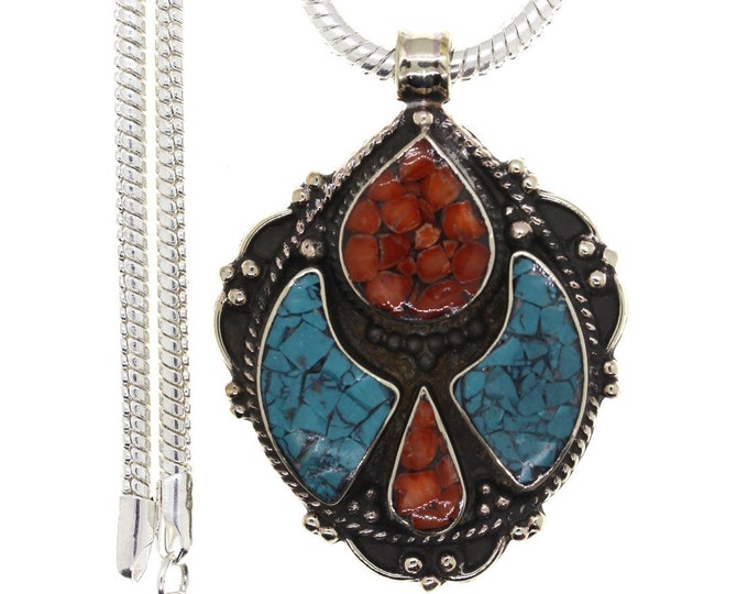 Turquoise Coral Tibetan Silver Nepal Pendant 4MM Italian Snake Chain 4MM Snake Chain N22