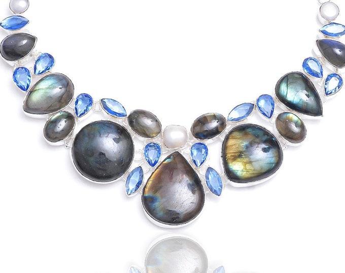 Labradorite Pearl Blue Topaz Necklace NK86