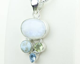 Larimar Blue Topaz Green Amethyst Swiss Blue Topaz 925 S0LID Sterling Silver Pendant + 4MM Snake Chain & Worldwide Shipping p4043