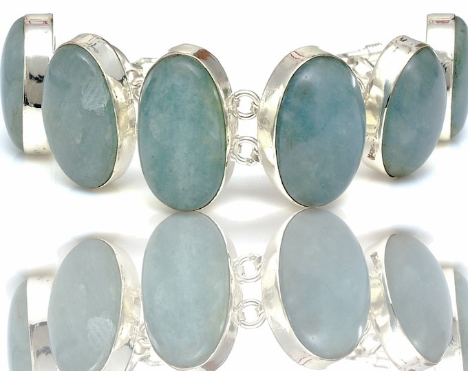Aquamarine Genuine Gemstone Bracelet B4413