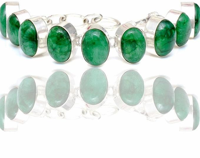 Emerald Cabochon Genuine Gemstone Bracelet B4428