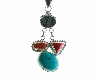 Turquoise Coral Abalone 925 Sterling Silver + BONDED Copper Pendant Chain & Worldwide Shipping p4489
