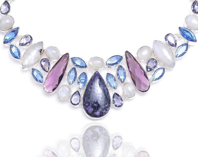 Charoite Moonstone Iolite Necklace N91
