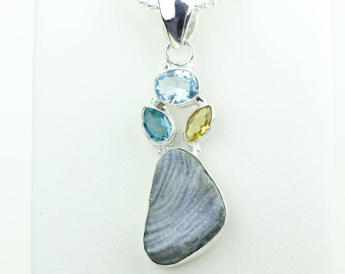 Agate Druzy Clear Topaz Citrine 925 S0LID Sterling Silver Pendant + 4MM Snake Chain & Worldwide Shipping p4080