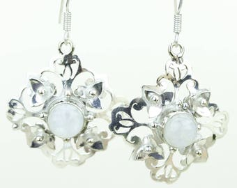 Moonstone 925 SOLID (Nickel Free) Sterling Silver Italian Made Dangle Earrings e642