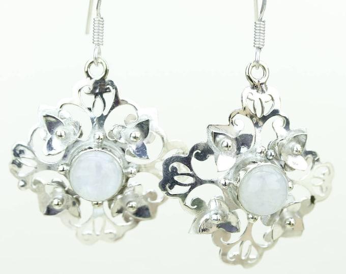 Moonstone 925 SOLID (Nickel Free) Sterling Silver Italian Made Dangle Earrings e642