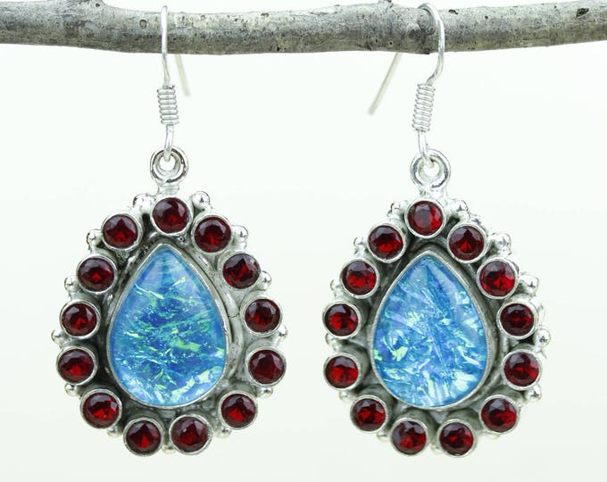Opal Garnet 925 SOLID (Nickel Free) Sterling Silver Italian Made Dangle Earrings e649