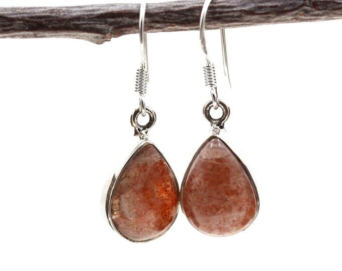 Tear Drop Sunstone 925 SOLID Sterling Silver Earrings E106