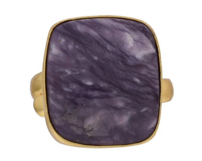 Size 10.5 - Size 12 Adjustable Charoite 24K Gold Plated Ring GPR481