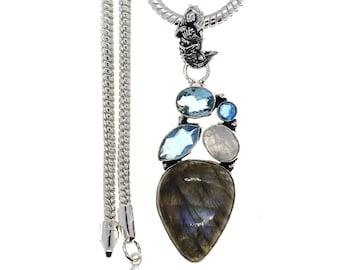 Labradorite Moonstone Blue topaz Pendant 4MM Italian Snake Chain  P4687