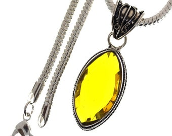 IRRADIATED Citrine From Colorless Quartz 925 S0LID Sterling Silver Pendant + 4MM Snake Chain P3315