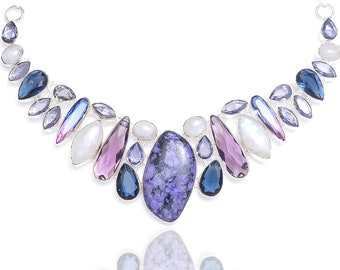 Charoite Moonstone Amethyst Necklace NK98