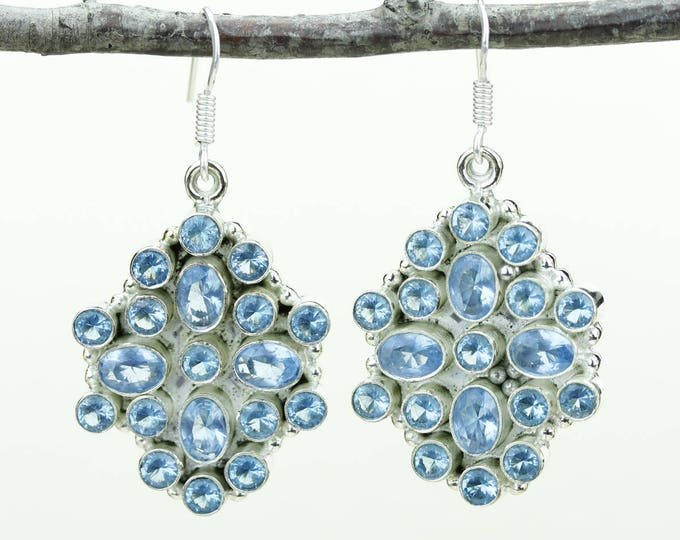 Swiss Blue Topaz 925 SOLID (Nickel Free) Sterling Silver Italian Made Dangle Earrings e662