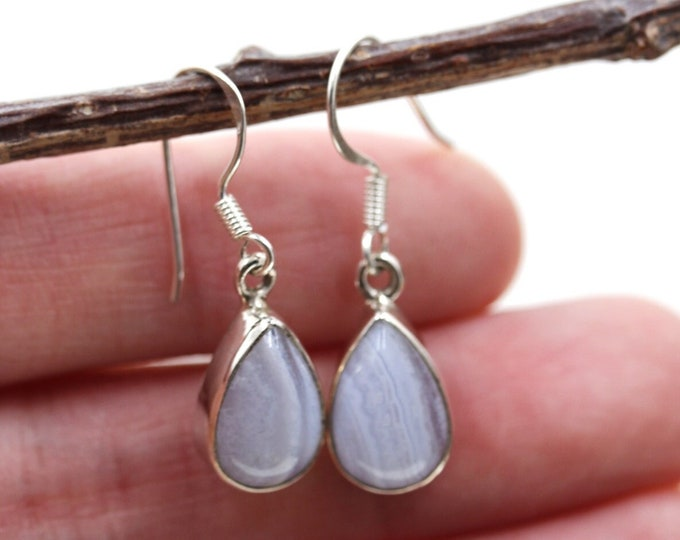Namibian Blue Lace Agate 925 SOLID Sterling Silver Earrings E55