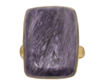 Size 8.5 - Size 10 Adjustable Charoite 24K Gold Plated Ring GPR483