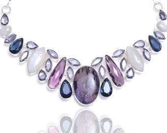 Charoite Moonstone Amethyst Iolite Necklace NK102